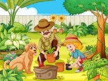 Fader och dotter som planterar trädet i trädgård vektor illustrationer