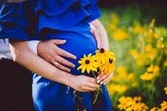 Fader och gravida moderinnehavhänder samman med gulingblommor på en grön äng Royaltyfri Bild