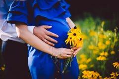 Fader och gravida moderinnehavhänder samman med gulingblommor på en grön äng Royaltyfria Bilder