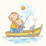 Fader och son i fartyget Arkivbilder