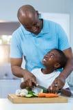 Fader och son som förbereder mat Royaltyfria Bilder