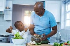Fader och son som förbereder mat Royaltyfria Foton