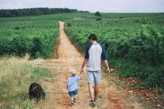 Fader och son som går med hunden på naturen, utomhus arkivbilder