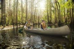 Fader och son som tillsammans kanotar i en tropisk flod arkivfoto