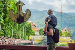 Fader- och sonturister i den buddistiska templet Kek Lok Si i Penang, Malaysia, Georgetown Resa med barnbegrepp royaltyfria bilder