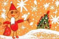 Fadern Frost uthärdar en påse med gåvor Gouache för teckning för barn` s Royaltyfri Fotografi