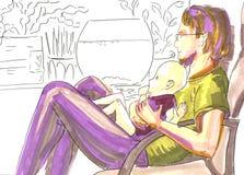 Fadern med behandla som ett barn, räcker den målade markörståenden i mjuka färger på konturbakgrund royaltyfri illustrationer