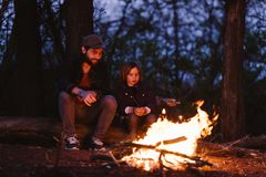 Fadern och hans lilla son som sitter p?, loggar in skogen framme av en brand och grillamarshmallower p? arkivbild