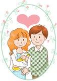 Fadern och modern och behandla som ett barn Arkivbilder
