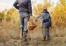 Fadern och sonen bär den fulla korgen av champinjoner Royaltyfri Fotografi