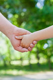 Fadern rymmer handen av barnet i soligt parkerar lite utomhus- enigt familjbegrepp royaltyfria bilder