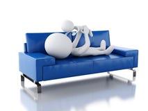 fadern som 3d spelar med henne, behandla som ett barn som ligga på soffan vektor illustrationer