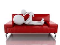 fadern som 3d spelar med henne, behandla som ett barn som ligga på soffan stock illustrationer