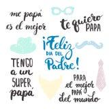 Faderns uttryck för kalligrafi för bokstäver för dag ställde in i spansk Feliz diameter del Fältpräst, Tengo toppet FN, fadern, d Royaltyfri Bild