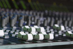 Faders. Sound board faders and meters Stock Photo