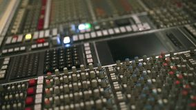 Faders and Buttons of Professional Audio Console stock footage
