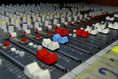Faders do misturador Fotos de Stock Royalty Free
