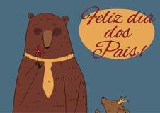 Faders för pappabjörn lycklig portugis för dag Arkivfoto