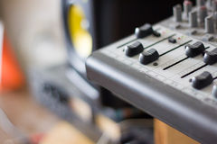 Faders on a micro mixing board Stock Image