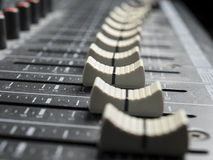 Faders on the mixing desk Stock Image