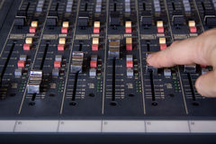 Faders at mixing pult Stock Image
