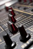 Faders on professional mixing controller Stock Images