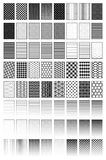 Fades, patterns, textures. Fades, patterns, swateches and textures in black on white background royalty free illustration