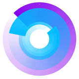 Fading concentric circles. Geometric circular element with trans Stock Photos