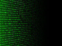 Fading Hexadecimal Background. Green hexadecimal computer code fading to the right Stock Images