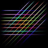 Fading multicolor linii laserowy neonowy skrzyżowanie, czarny tło Zdjęcie Royalty Free