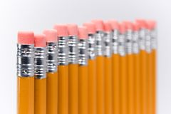 Fading pencils. Several number 2 pencils, shallow depth of field Royalty Free Stock Image