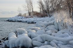 Fading sunlight on shore ice Stock Image