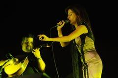 Fado Singer_ _Concert_Woman_Man_Guitar Live Music Arkivbild