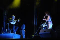 Fado Singer_Woman_Music_ Live Concert _Guitar_Man Lizenzfreie Stockfotos
