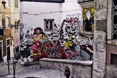 Fadograffiti in Lissabon stockbild