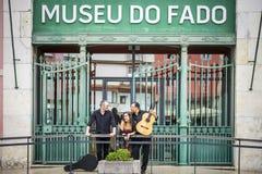 Fadomusikband som är främst av Fadomuseum i Lissabon, Portugal fotografering för bildbyråer