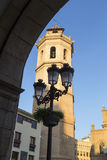 Fadri and the street lamp from an arch of the Town Hall in Caste Royalty Free Stock Image