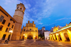 Fadri tower and Cathedral at Castellon de la Plana in night Stock Photo