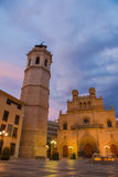 Fadri Tower and Cathedral of Castellon evening view Stock Photography