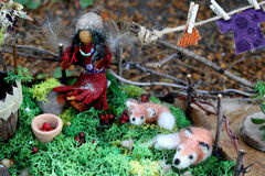 Faerie and Faerie Foxes in Faerie Garden Stock Images