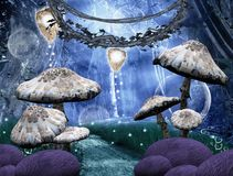 Faerie forest. A wonderful enchanted background with a pathway into the forest Stock Image
