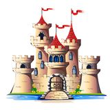 FaFairytale torn av en sten rockerar med en port och ett bridgeirytaletorn stock illustrationer