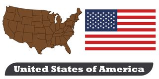 USA Map and Flag royalty free illustration