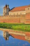 Fagaras - medeltida fästning med tornet Arkivfoton