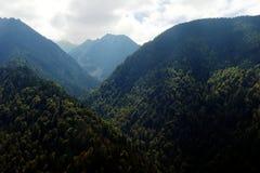 Fagaras mountain landscape view. Fagaras mountains landscape view, forest and high mountains Stock Photo