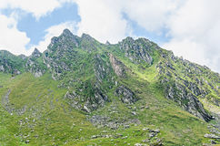 Fagaras mountains, Carpathians with green grass and rocks, Peaks Stock Photography