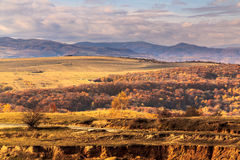 Faget Hills. Autumn view from Cluj Napocas hills over the Apuseni mountains and Faget forest Royalty Free Stock Photography