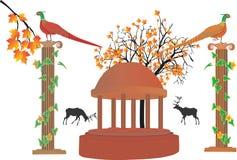 Fagiani e collage delle colonne Immagini Stock