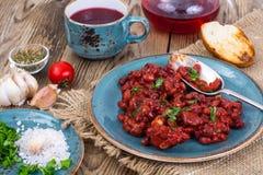 Fagioli caldi al forno in salsa al pomodoro immagini stock