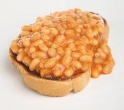 Fagioli cotti su pane tostato Immagini Stock Libere da Diritti